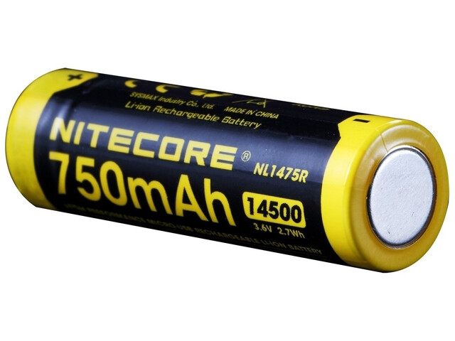 NITECORE 14500 USB Li-Ion - Piles - 750mAh jaune/noir